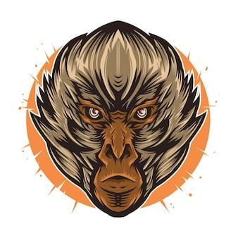 Arte de alto detalhe de ilustração vetorial de cabeça de macaco