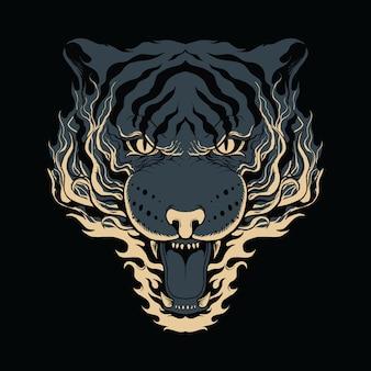 Arte de bitmap de ilustração de fogo de tigre