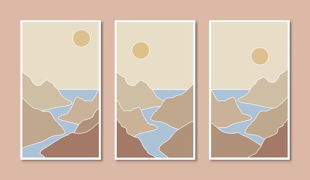 Arte de cartazes abstratos com ilustrações de estilo boho vector horizonte montanhas rio e mar