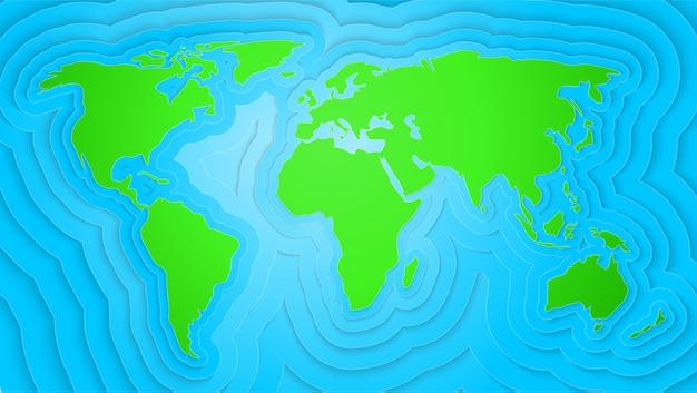 Arte de cinzeladura de papel isolada mapa do mundo da ilustração.