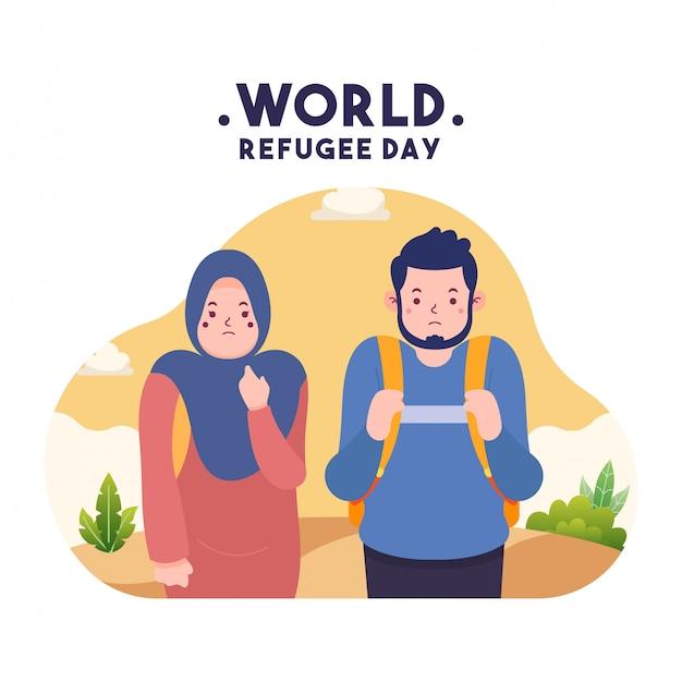 Arte de conceito de dia de refugiados de design plano