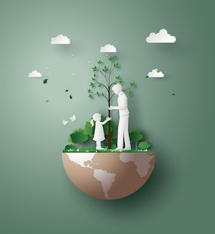 Arte de corte de papel de eco e meio ambiente