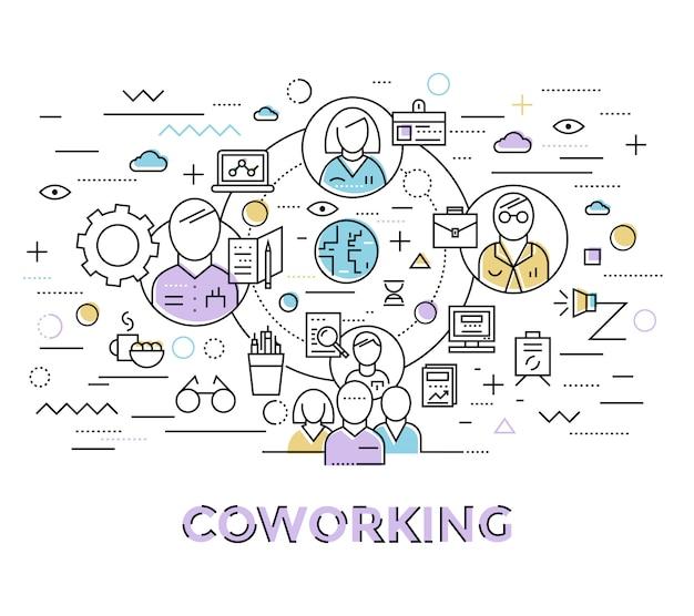 Arte de coworking colorida no estilo linear com o grupo de colegas associado um ao outro ilustração vetorial