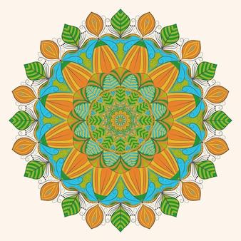 Arte de decoração de mandala colorida