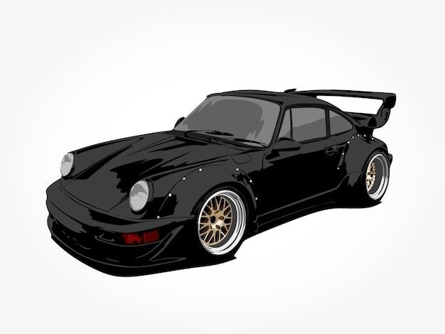 Arte de detalhe realista legal carro preto