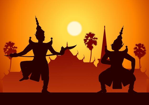 Arte de drama de dança tradicional de tailandês clássico mascarado