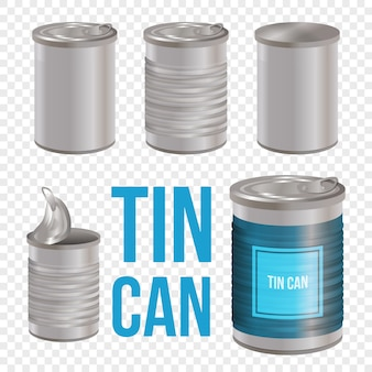 Arte de estilo de lata pode definir conjunto transparente. lata, pacote realista de comida enlatada