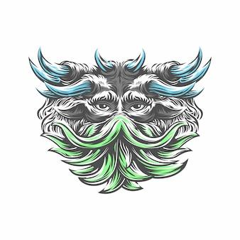 Arte de estilo grunge de crânio humano com muitos chifres. design de impressão. demon head. um demônio, sobrenatural, malévolo. bruxaria, magia negra, ocultismo, ilustração.