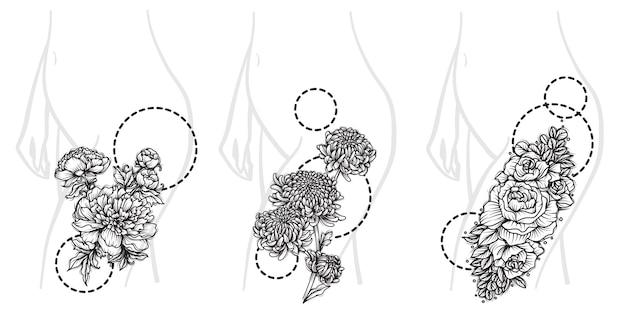 Arte de flores definida em tamanho grande para esboço de desenho de mão de tatuagem em preto e branco
