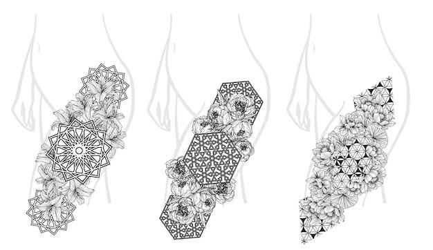 Arte de flores em tamanho grande para tatuagem desenho a mão em preto e branco