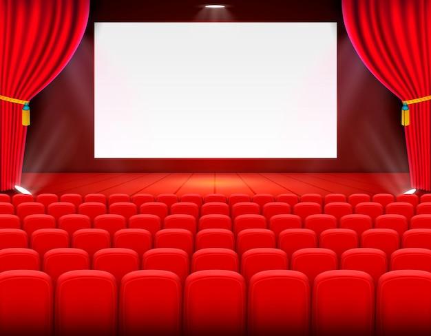 Arte de fundo de cinema de cena, performance no palco. ilustração vetorial