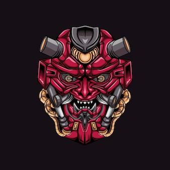 Arte de ilustração de cabeça de mecha zangada mascote
