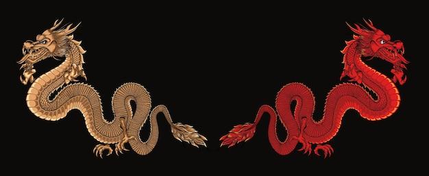Arte de ilustração de dois dragões formidáveis
