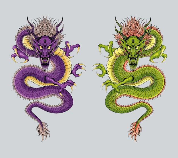 Arte de ilustração de dragão chinês em duas cores diferentes