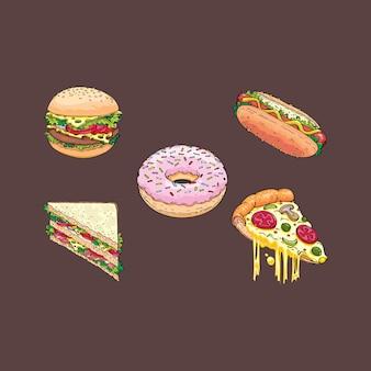 Arte de ilustração de fast food