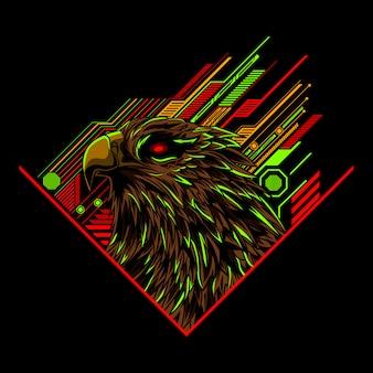 Arte de ilustração vetorial de cabeça de águia