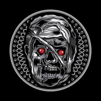 Arte de ilustração vetorial de cabeça de múmia no ornamento do círculo