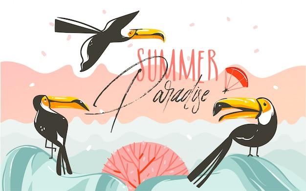 Arte de ilustrações de horário de verão de coon desenhada à mão com cena do pôr do sol na praia e pássaros tucanos tropicais com texto tipográfico summer parsdise em fundo branco