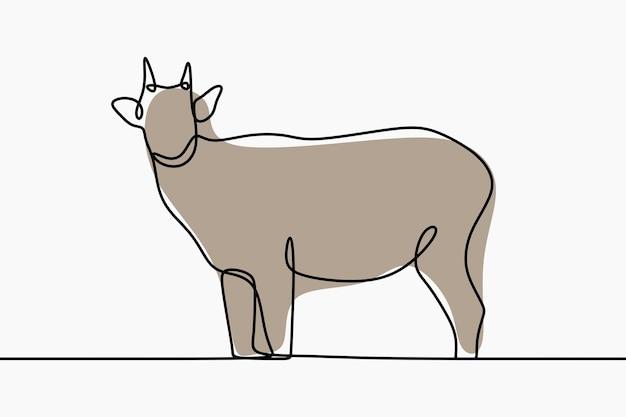 Arte de linha contínua anoa animal oneline