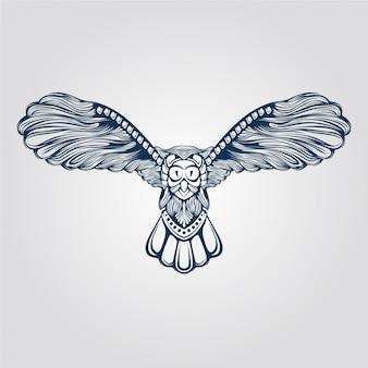 Arte de linha da coruja voadora