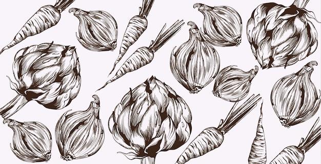 Arte de linha de alcachofra e cebola. vegetais padrão colheitas frescas