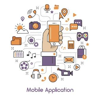 Arte de linha de aplicativo móvel