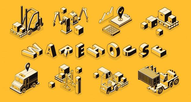 Arte de linha de armazém comercial, banner vector isométrica.