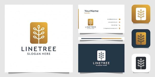 Arte de linha de árvore em estilo moderno. terno para marca, decoração, spa, saúde, publicidade e cartão de visita