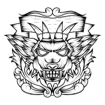 Arte de linha de cabeça de diabo ornamental