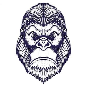 Arte de linha de cabeça de gorila