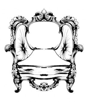 Arte de linha de cadeira real