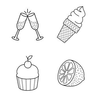 Arte de linha de comida e bebida, ilustração vetorial