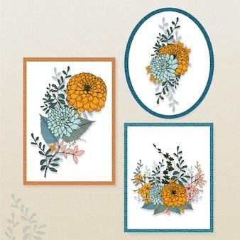 Arte de linha de flores buquê tropical. plantas com flores decorativas.