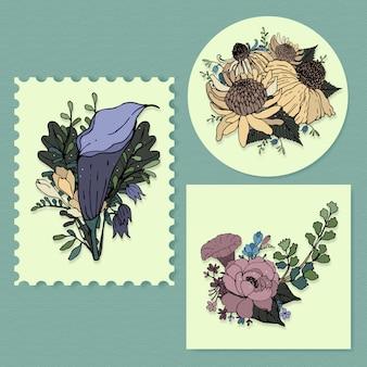 Arte de linha de flores buquê tropical. plantas com flores decorativas. Vetor grátis