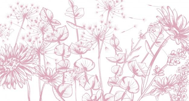 Arte de linha de flores de verão.