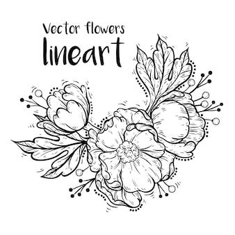 Arte de linha de flores