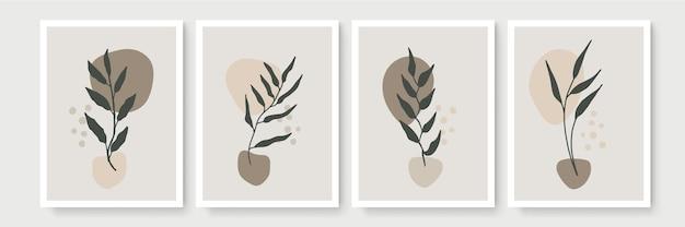 Arte de linha de folhagem boho desenho com forma abstrata. arte da planta abstrata. folhas florais abstratas modernas em estilo boêmio