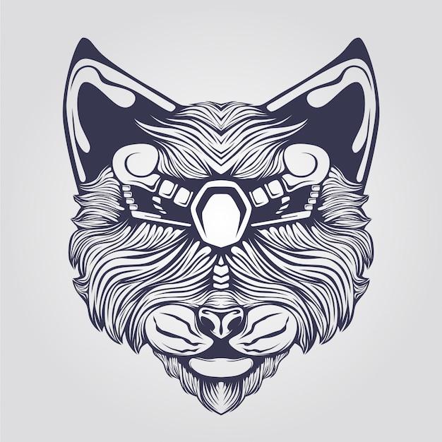 Arte de linha de gato com olhos decorativos