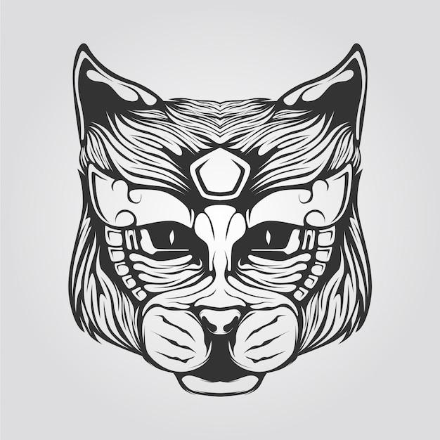 Arte de linha de gato em preto e branco