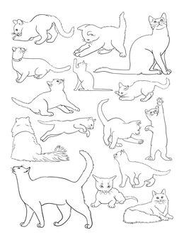 Arte de linha de gato