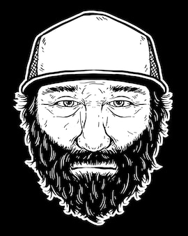 Arte de linha de homem de barba preto e branco
