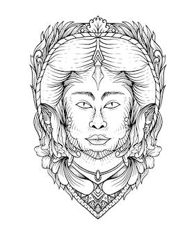 Arte de linha de ilustração vetorial de menina bonita nativa americana