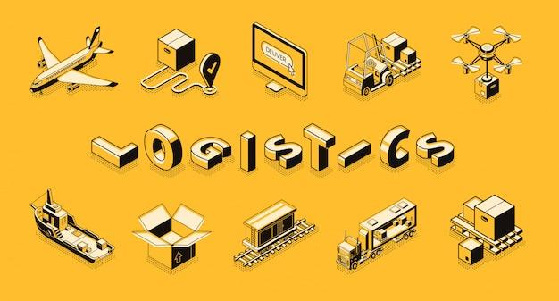 Arte de linha de logística de negócios, banner vector isométrica.