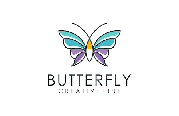 Arte de linha de logotipo de borboleta