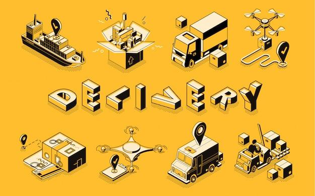 Arte de linha de negócios de entrega, banner vector isométrica.