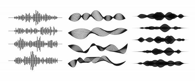 Arte de linha de ondas de som / áudio ou ondas sonoras para aplicativos e sites de música. ilustração em vetor forma onda isolada no fundo branco