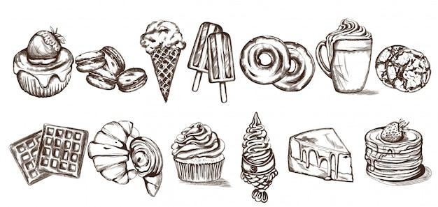 Arte de linha de padrão de doces