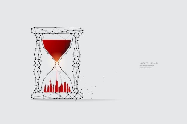 Arte de linha de partículas. conceito de relógio de areia e tempos.