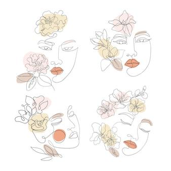 Arte de linha de rosto feminino com flores de sakura, camélia, magnólia. mulher asiática desenhada estilo contínuo, conjunto forro de vetor para negócios de cosméticos