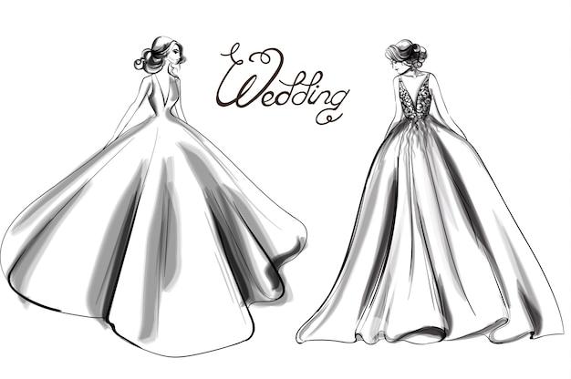 Arte de linha de silhueta de noiva